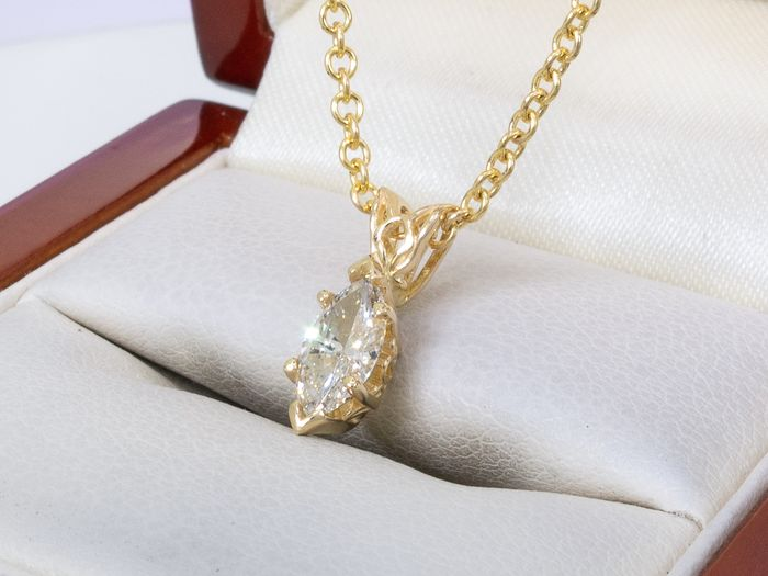 14 kt. Gold - Solitair diamond necklace - 0.55 carat center stone