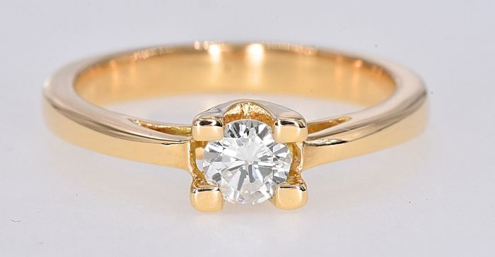 18 kt. Yellow gold - Solitaire ring - 0.31 ct Diamond