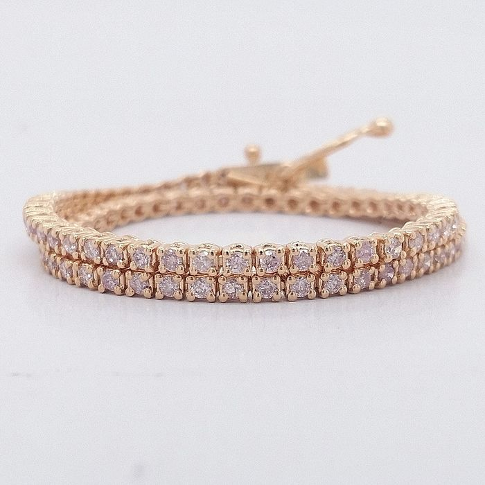 0.93ct Natural Fancy Mix Pink Diamonds - 14 karaat Rosé goud - Armband - *** Geen minimumprijs ***