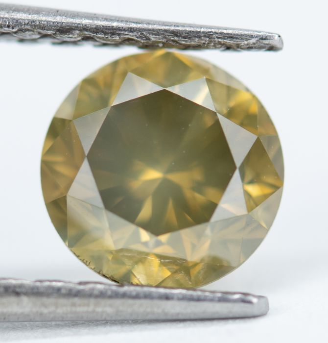 Diamond - 0.94 ct - Natural Fancy Greenish Brownish Yellow - I1