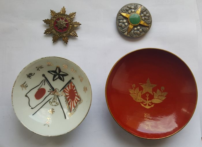 Japan - Army/Infantry - WW2 Imperial Japanese Army Military Sake Cup +2 decorations - 1944