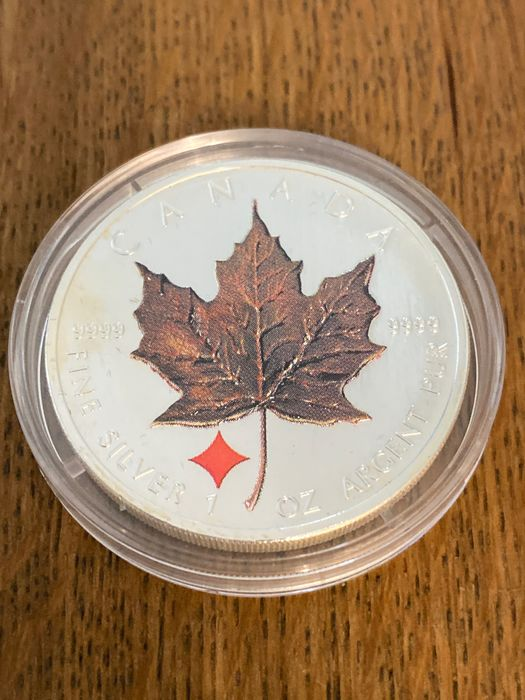 "Canada - 5 Dollar 2006 - Maple Leaf - ""Vierjahreszeiten - Privy Mark Karo"" - 1 Oz - Silver"