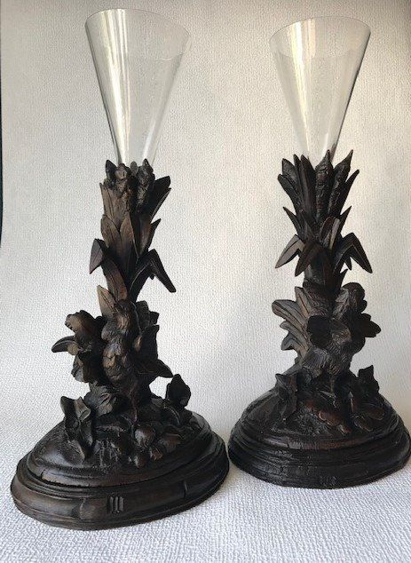 Two Schwarzwalder wood carving pieces with birds - Wood - about 1880