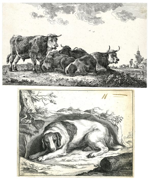 Jean Baptiste de Roy and anonymous - 2 animal prints: Four cows with sheep in landscape & Resting spaniel dog.