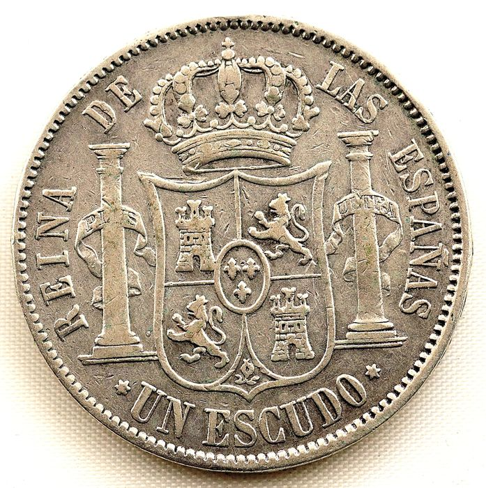 Spain - 1 Escudo  - 1867 - Madrid - Isabel II  - Silver