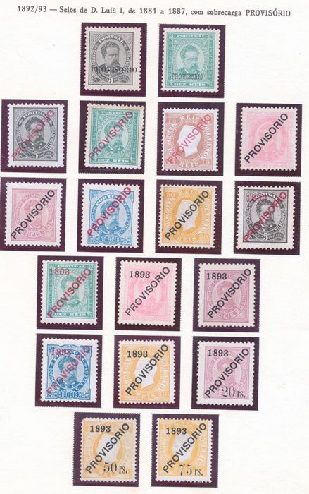 Portugal 1893 - D. Luis I Overcharges Temporary Complete Series - Mundifil 80/97