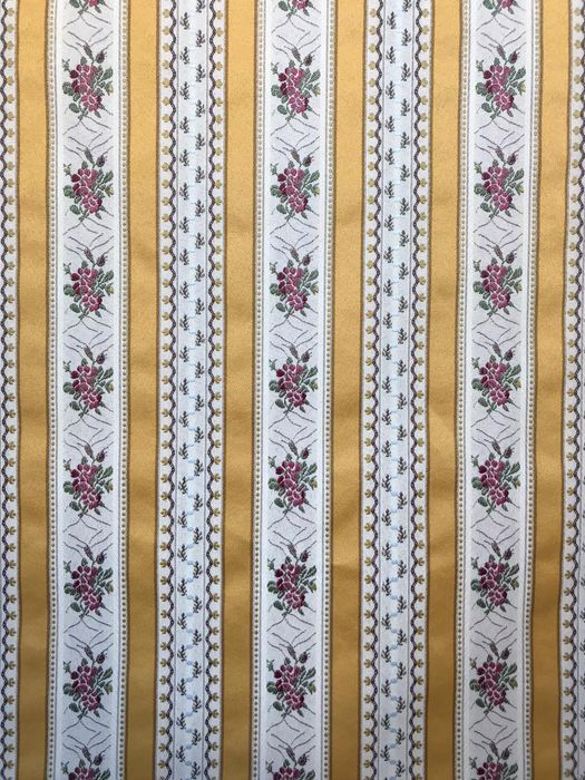 600 x 150 cm damask fabric with floral bands - Resin/Polyester, Silk - Mid 20th century