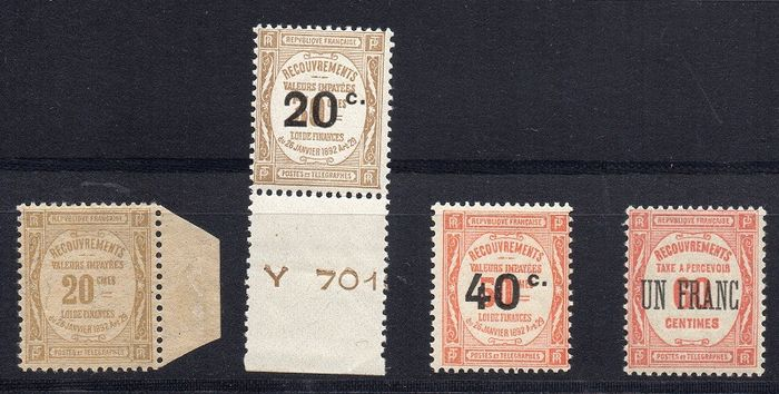 France 1908/1929 - Selection 4 postage due stamps - Yvert 45 - 49 - 50 - 63