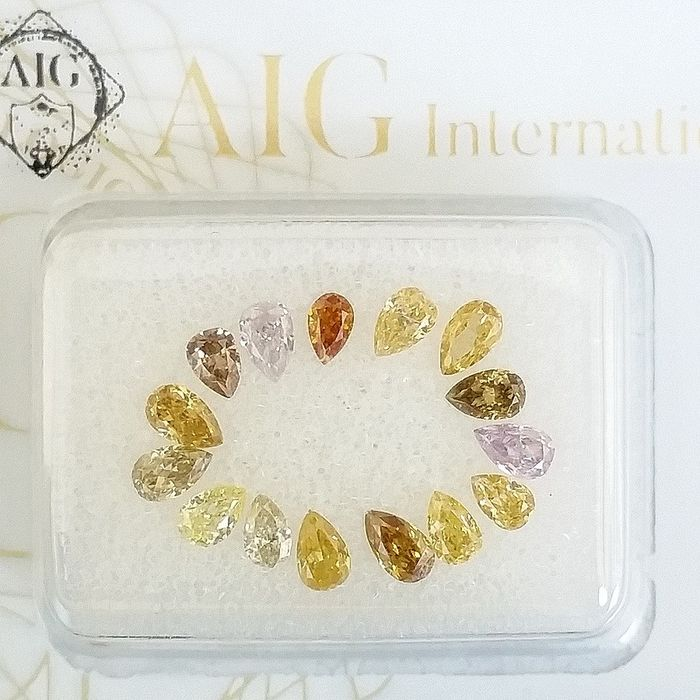 15 pcs Diamonds - 1.02 ct - Pear - Natural Fancy Mix Colors - SI1, VS2, ***No Reserve Price***