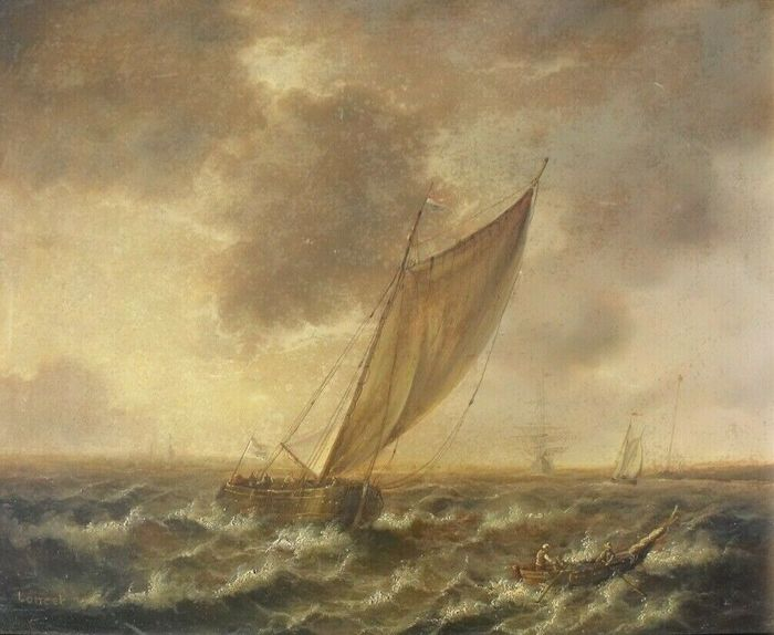 Unknown - Dutch Sailing Boats in Choppy Seas