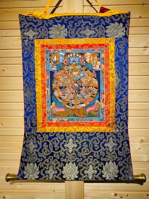 Thangka - Copper, Wood, brocade - Nepal - Late 20th century