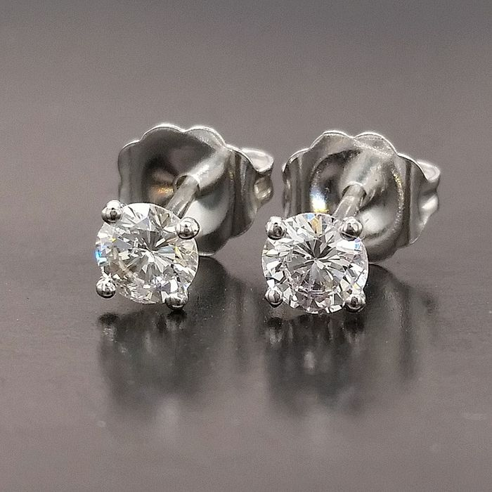0.52ct Diamonds - 14 kt. White gold - Earrings - ***No Reserve Price***