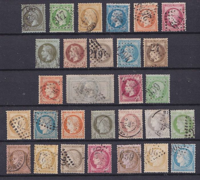 França 1860/1874 - Almost complete collection of imperforate classics - Yvert entre 10 & 60