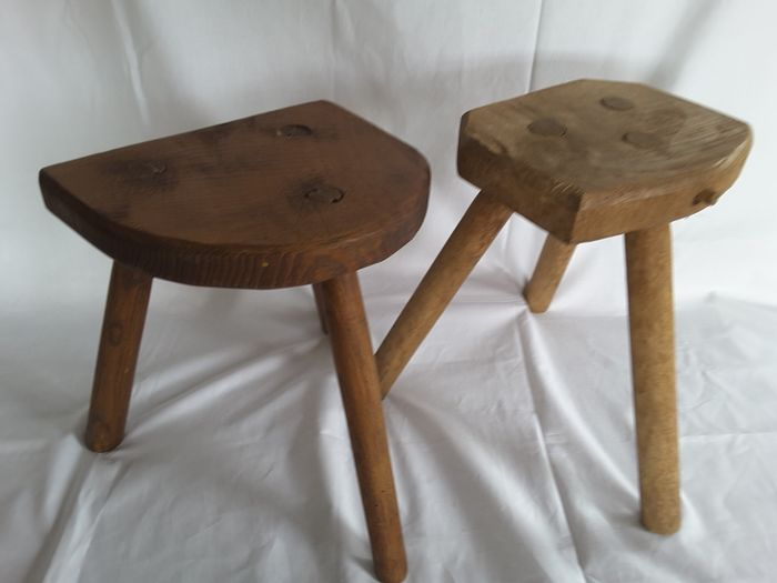 Two Milk stools - Solid wood