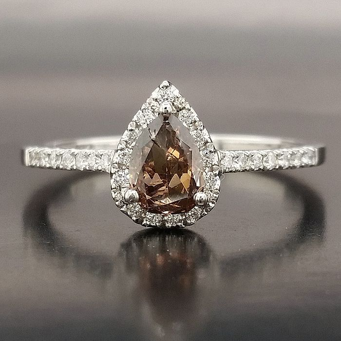 0.76ct Natural Fancy Vivid Brown, Diamonds - 14 kt. White gold - Ring - ***No Reserve Price***
