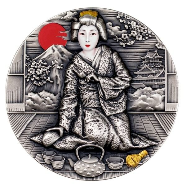 Niue - 2 Dollar 2019 Geisha Antique Finish - 2 oz - Silver
