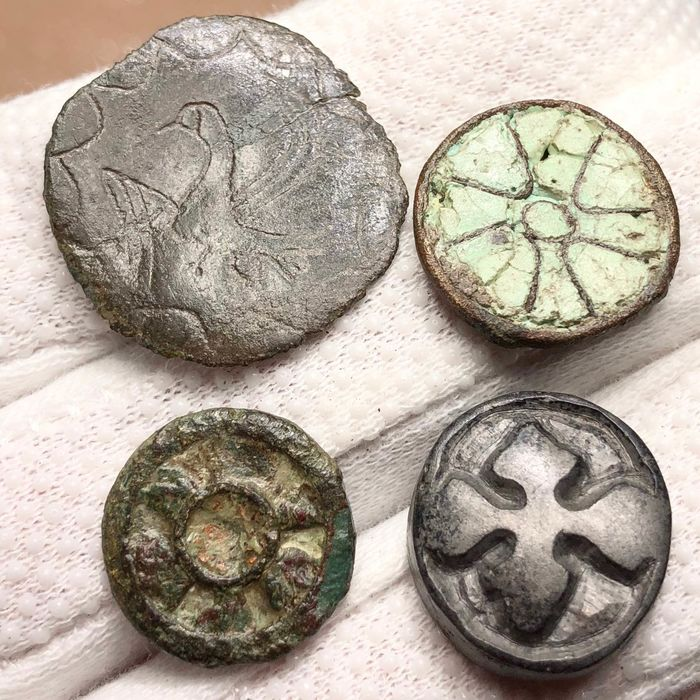 Early medieval Bronze Collection of Four Thematically Sellected Appliques with an Early Christian Symbols.