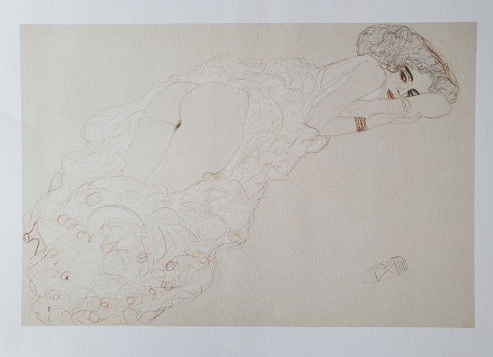 Gustav Klimt (1862-1918) - Reclining Nude Lying on Her Stomach and Facing Right