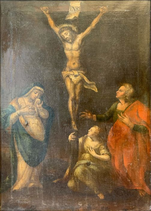 """Painting, """"Crucifixion"""" - oil on canvas - Mid 17th century"""