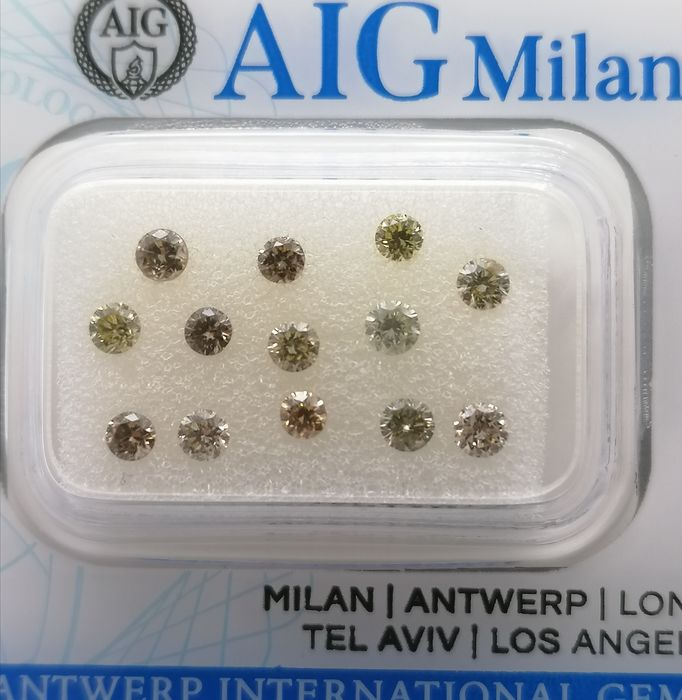 13 pcs Diamond - 1.03 ct - Brilliant - Natural fancy mix colors - *** no reserve price** vvs1 vvs2 vs1 vs2 si1 si2