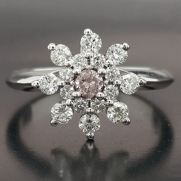 0.53ct Natural Fancy Pink, Diamonds - 14 karaat Witgoud - Ring - Geen minimumprijs