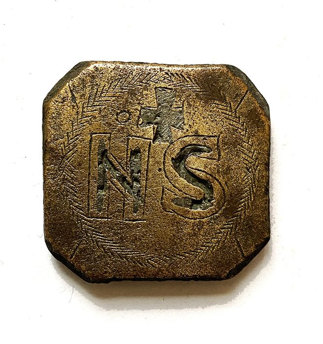 Byzantine Bronze Silver Inlaid  Weight with Cross and Weight-Mark