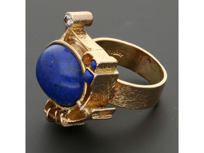 18 kt. Gold - Ring - 0.05 ct Diamond - Lapis lazulis