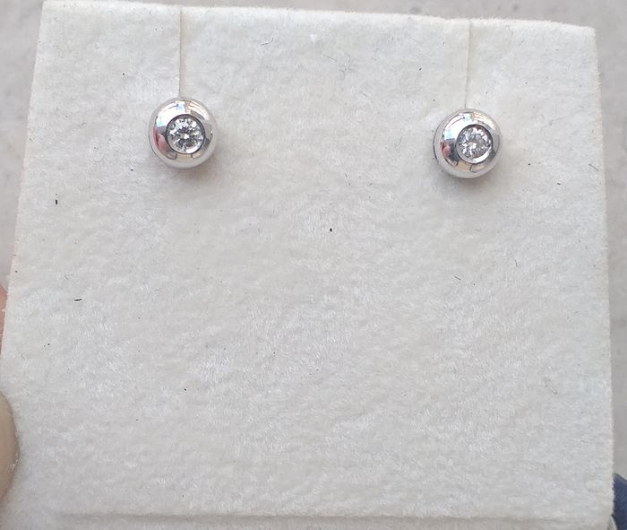18 kt. White gold - Earrings - 0.08 ct Diamond
