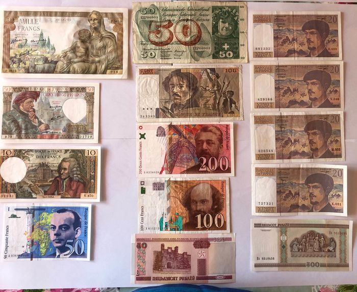 Wereld - 14 banknotes - mostly France - Various dates