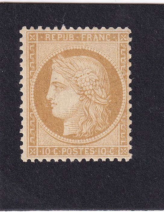 Frankreich 1870/1870 - Ceres, 10 centimes bistre-yellow, mint** with certificate of authenticity. - Yvert n°36