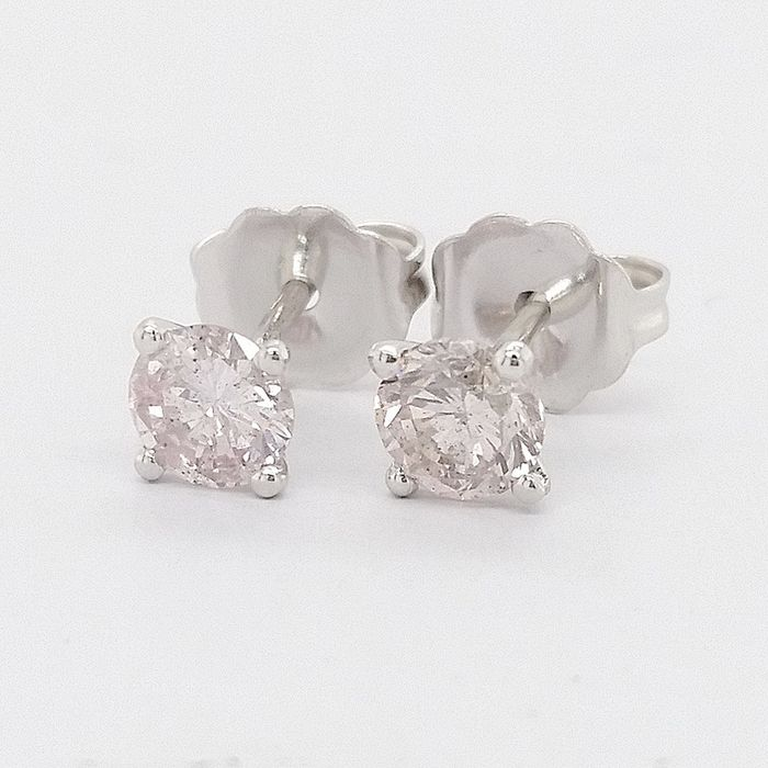 0.60ct Light Pink Diamonds - 14 kt. White gold - Earrings - ***No Reserve Price***