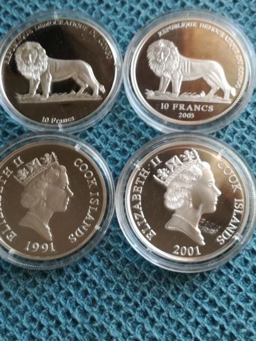 Cook Islands, DRC - Congo - 10 Francs 2003 and 2005 + 10 Dolalrs 2004 + 50 Dolalrs 1991 Commemorative (4 pieces) - Silver