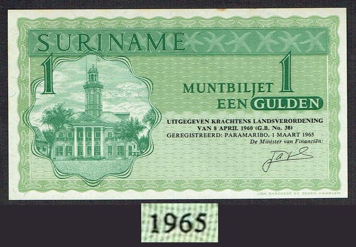Suriname - 1 Gulden 1965 Muntbiljet - Early Year - Pick 116a / PLS 17.1b