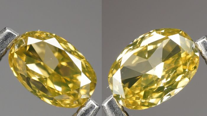 2 pcs Diamond - 0.37 ct - OVAL BRILLIANT - NATURAL FANCY INTENSE GREENISH ORANGY YELLOW - VVS2-No Reserve