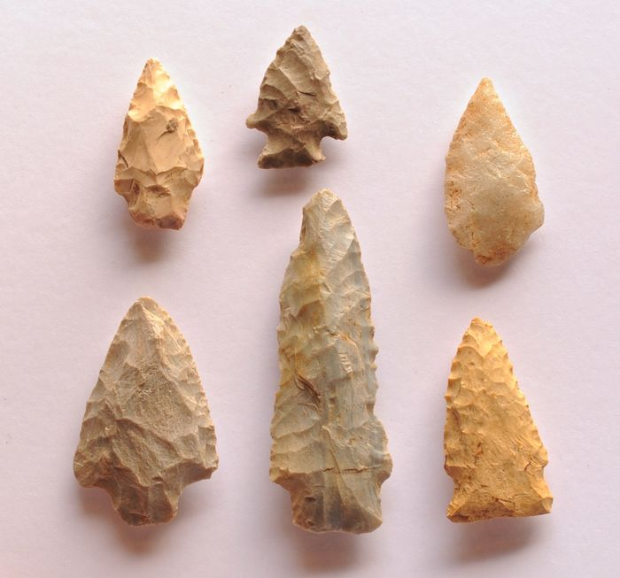 Prehistoric, Neolithic quartz flint Lot with 6 strikers from the USA, 76 - 33 mm - (6)