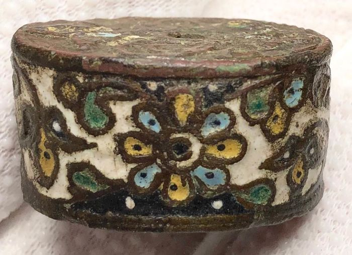 Medieval Copper Luxury Lid with a Beautiful Colorful Enamelled Floral Motifs.