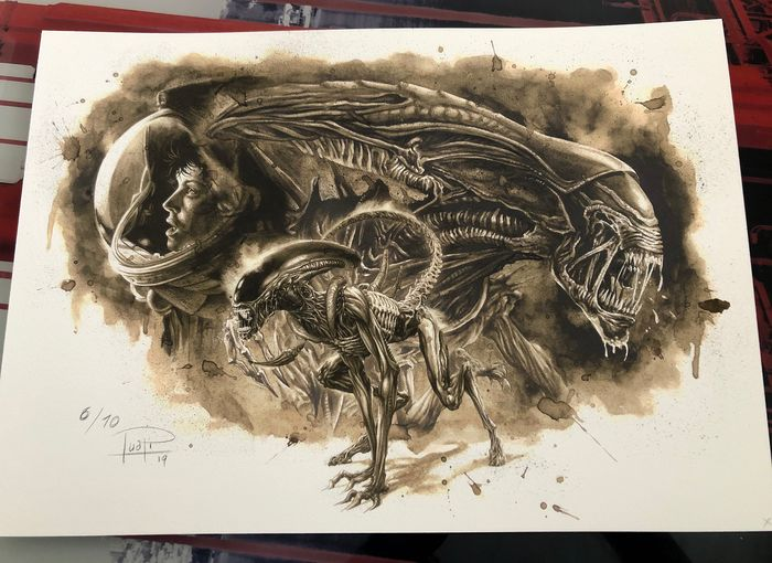 Giclee on watercolor paper 300g (6 of 10) - ALIENS COFFEE PAINTING - Édition limitée (2019)