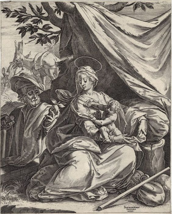 Bernardino Passeri after, Cornelis Cort, 1576 - Rest on the flight to Egypt, early engraving. First state.