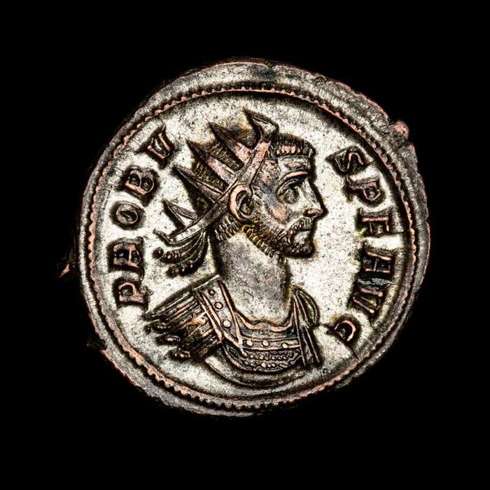 Roman Empire - silvered AE Antoninianus, Probus (276-282 AD) - VICTORIA GERM / R-thunderbolt-A, Trophy between two captives