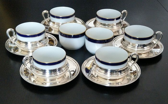 tea service for 6 people with Limoges porcelain - .800 silver, porcelain - Italy - Mid 20th century