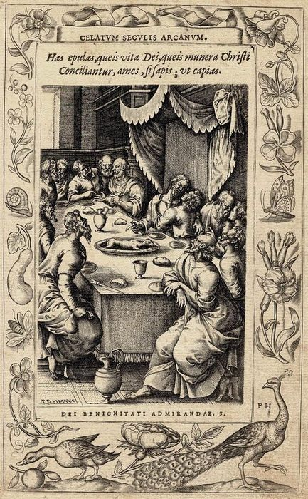 Pieter Huys (1519-1586), Johannes (Jan) Wierix (1549-1620), Pieter van der Borcht (1530-1608) after. - The last supper. Borders with peacock, snail, butterfly, goose, flowers and fruit.