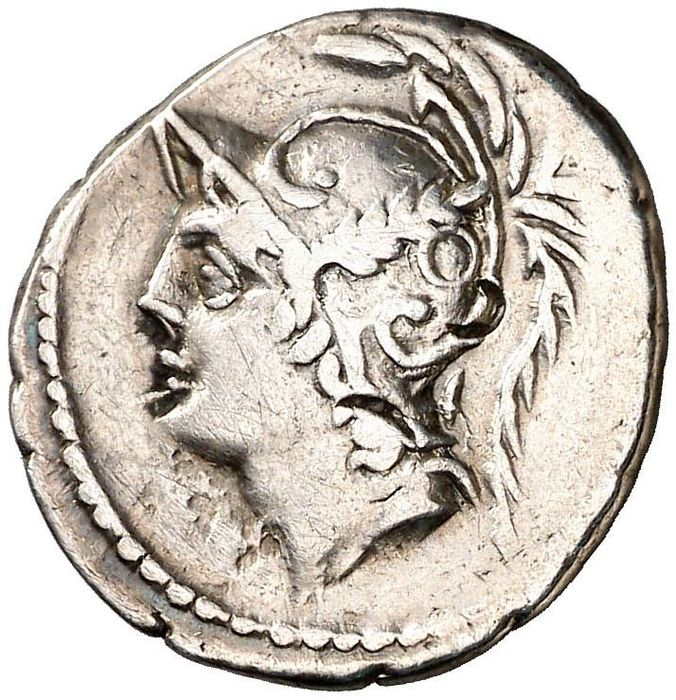 Roman Republic - Denarius - Q. Minucius M.f. Thermus. Rome in 103 B.C. Two warriors fighting Q. THERM - Silver