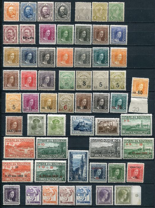 Luxembourg 1893/1933 - Mint collection of 125 postage stamps - Yvert Entre n° 61 et 248