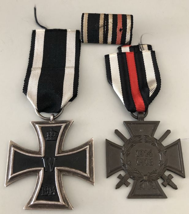 Germany - WW1 - Iron Cross 2nd Class 1914 + front fighter with swords + ribbon clasp