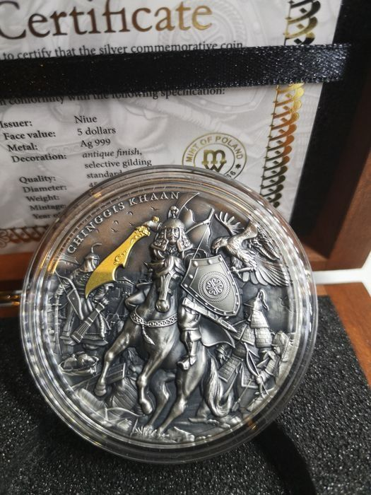 Niue. 5 Dollars 2019 Chinggis Khaan Antique Finish Ultra High Relief - 2 oz