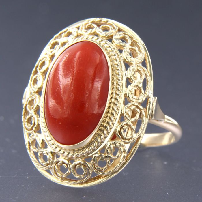 14 kt. Yellow gold - Ring Coral