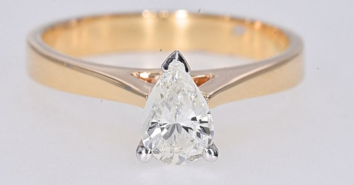 Yellow gold - Solitaire ring - 0.62 ct Diamond