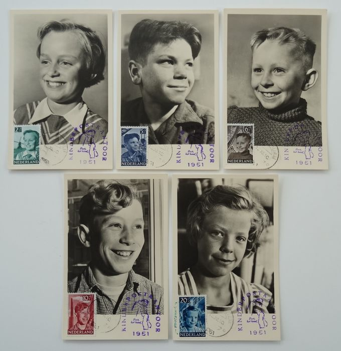 Netherlands 1951 - Complete set of Maximum cards of Children's Aid stamps - NVPH 573/577