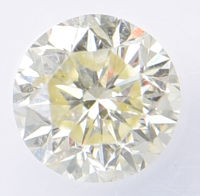 1 pcs Diamond - 0.55 ct - Brilliant, Round - Light Yellow - SI2     ** No Reserve Price **