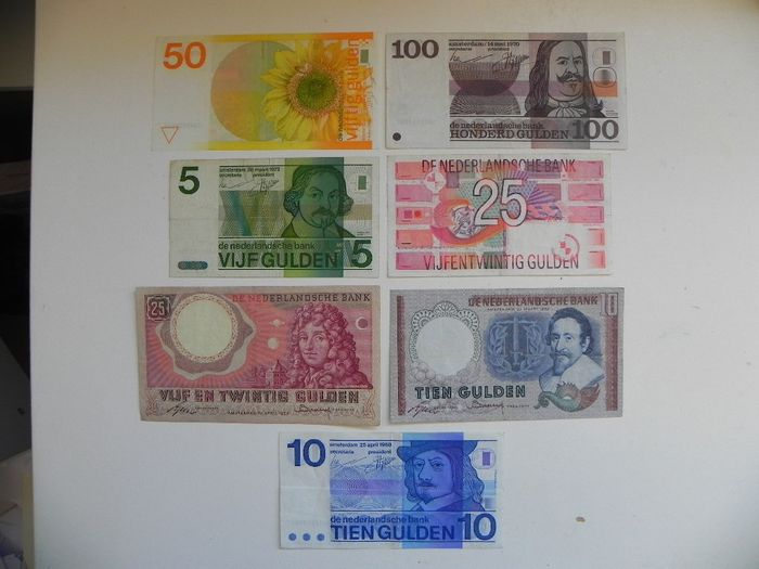 Nederland - 7 different banknotes - Various dates